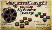 Shadows of Brimstone: Deluxe 3D Gunslinger Six-Shooter Template resin LIMITED EDITION