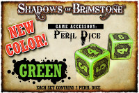 Shadows of Brimstone: Green Peril Dice (Set of 2)