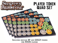Shadows of Brimstone: Player Token Quad Set (Counter Sheets for XP and Gold - 4 Player Bundle)