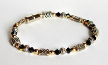 Beaded Anklet - Jersey Girl Celtic with Black Crystal & Gold
