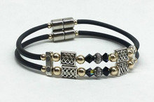 Double Corded - Jersey Girl Celtic with Black Crystal & Gold
