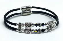 Double Corded - Jersey Girl Celtic with Black Crystals & Silver