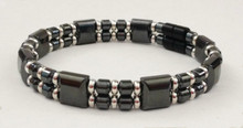 MD-8033: Black & Silver Double Drum Bracelet