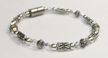 Dragonfly Anklet with Clear Crystals & Silver