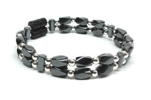 Small black Twist & Silver - Double Strand Beaded Bracelet