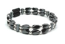 Small black Twist & Silver - Double Strand Beaded Bracelet