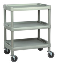 "200 LB. WEIGHT CAPACITY-HIGH DESIY POLYETHYLENE-4"" SWIVEL CASTERS-11"" CLEARANCE BETWEEN SHELVES-27-1/4"" X 17"" X 33"" -LIGHT GRAY COLOR"