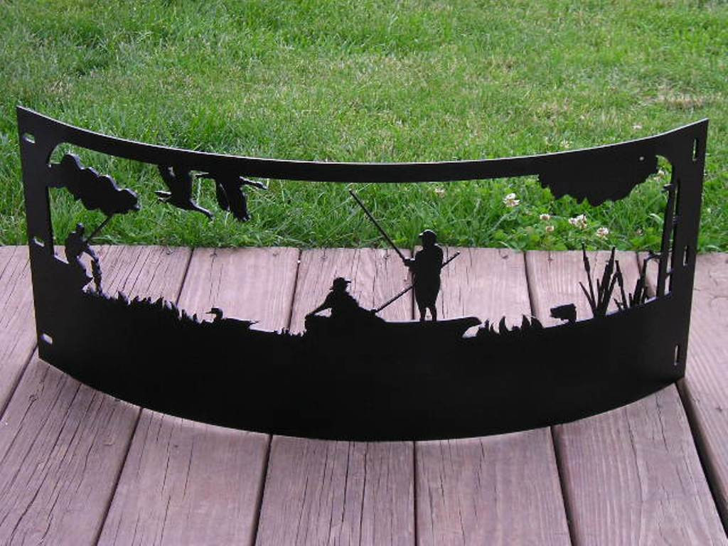 Camping Fire Pit >> Htw Campfire Fire Pit Ring Fishing Ducks Boating Scene Hill Top