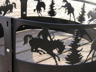 Bronc Rider Campfire Fire Pit Ring CNC Plasma Cut from heavy gauge steel.