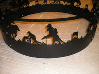 Rodeo Barrel Racer Campfire Fire Pit Ring CNC Plasma Cut from heavy gauge steel.