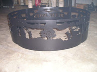 Indian Chief Elk Campfire Fire Pit Ring CNC Plasma Cut from heavy gauge steel.