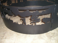Indian Hunting Campfire Fire Pit Ring CNC Plasma Cut from heavy gauge steel.