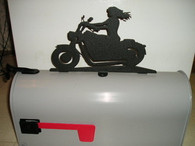 Girl Riding Motorcycle Mailbox Topper CNC Plasma Cut from 14ga steel.