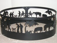 Western Horse Cook-out Fire Pit Ring CNC Plasma Cut from heavy gauge steel.