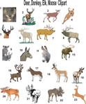 Deer, Donkey, Elk, Moose Clipart