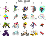 Cycling & Skateboard  Clipart 1
