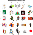 Tennis, Basketball, & Volleyball Clipart