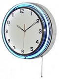 "18"" Double Neon blue/white wall clock.  We can customize the face to suit your needs. Have a picture of a classic car, favorite pet, person, or scene, we can insert that as the clock face. Makes a great personal gift."
