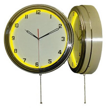 """15.5"""" Single Neon yellow wall clock.  We can customize the face to suit your needs. Have a picture of a classic car, favorite pet, person, or scene, we can insert that as the clock face. Makes a great personal gift."""