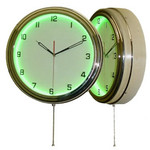 "15.5"" Single Neon green wall clock.  We can customize the face to suit your needs. Have a picture of a classic car, favorite pet, person, or scene, we can insert that as the clock face. Makes a great personal gift."