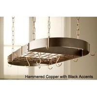 Rogar Hammered Copper Oval Rack with Black Accessories
