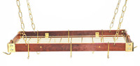 Rogar Cherry Wood Rectangular Rack with Brass Accessories