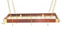 Rogar Cherry Wood Rectangular Rack with Brass Accessories