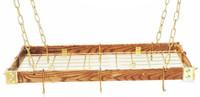 Rogar Dark Wood Rectangular Rack with Brass Accessories