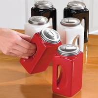EZ Grip Salt and Pepper Shaker Set with Stainless Steel Tops