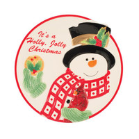 Holly Berry Snowman Cookie Plate