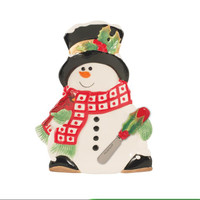 Holly Berry Snowman Snack Plate with Spreader