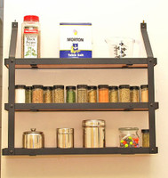 Rogar 3-Tier Spice Rack: Black & Lacquered Natural Wood