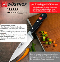 Wusthof Knife Clinic-Reservation for One  10/20/17 6:30 PM