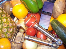 This Peeler, Julianne and Mandolin Board is a must in every kitchen!  Stainless Steel and Super Sharp!