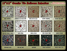 Choose your granite selection at the drop down box on  the right side of this page.  If you need to select more  then one color, then you may have to add them to the  cart one at a time (example: you may not be able to  select and add two types of granite at a time, you may  have to add them to your cart one at a time).  If you  have any questions with your selection process, please  call us at (719) 632-1264