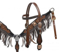 3 piece headstall, breastcollar and reins