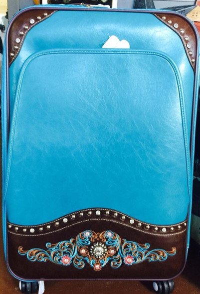 Three piece turquoise Luggage set with rollers.  2 suitcases and one carry on.