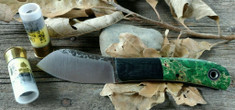 Fiddleback Forge - Minimuk - Dyed Box Elder Wood with Black Bolsters -  White Liners - A2 Tool Steel