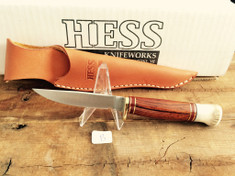 Hess Knifeworks - Bird and Trout - Cocobolo Wood - A - Stag Antler Pommel