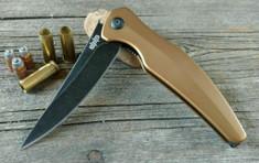 Brous Blades - Sniper - Brown Aluminum Handles - Acid Stonewash Finish