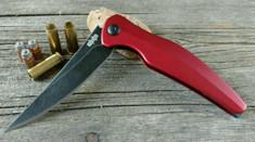Brous Blades - Sniper - Red Aluminum Handles - Acid Stonewash Finish