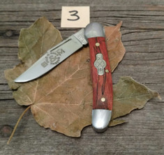 Schatt and Morgan Cutlery  - #41 Small Pocket Hunter (Copperhead) - Burnt Orange Spalted Maple Wood - (3)