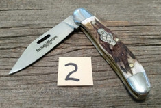 Schatt and Morgan Cutlery - JSR EXCLUSIVE - Frontier Copperhead - American Elk Handles (2) - Special Laser Cut Blade