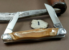 Tuna Valley Cutlery Co. - Carpenters Whittler  - Fluted Mammoth Bark Ivory Handles - 1