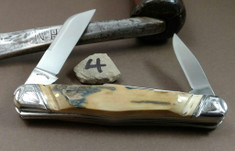 Tuna Valley Cutlery Co. - Carpenters Whittler  - Fluted Mammoth Bark Ivory Handles - 4