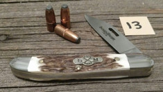 Schatt and Morgan Cutlery - JSR EXCLUSIVE - Frontier Copperhead - American Elk Handles (13) - Special Laser Cut Blade