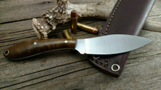 L.T. Wright Handcrafted Knives - Small Northern Hunter - NICE Dark Maple Wood Handles  (1) - Flat Grind