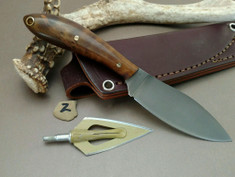 L.T. Wright Handcrafted Knives - Small Northern Hunter - NICE Dark Maple Wood Handles  (2) - Flat Grind