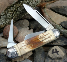 Tuna Valley Cutlery Co. - Cattleman  -  Fluted Mammoth Bark Ivory Handles - 4