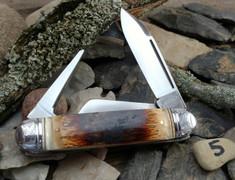 Tuna Valley Cutlery Co. - Cattleman  -  Fluted Mammoth Bark Ivory Handles - 5